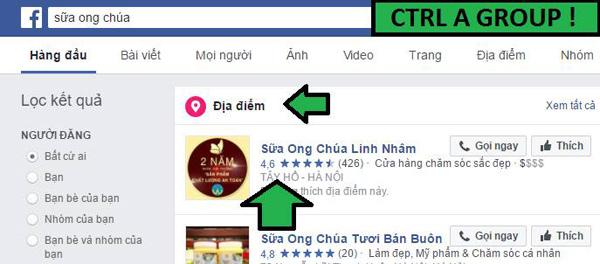 Facebook ưu tiên các page địa điểm để xếp lên đầu tiên