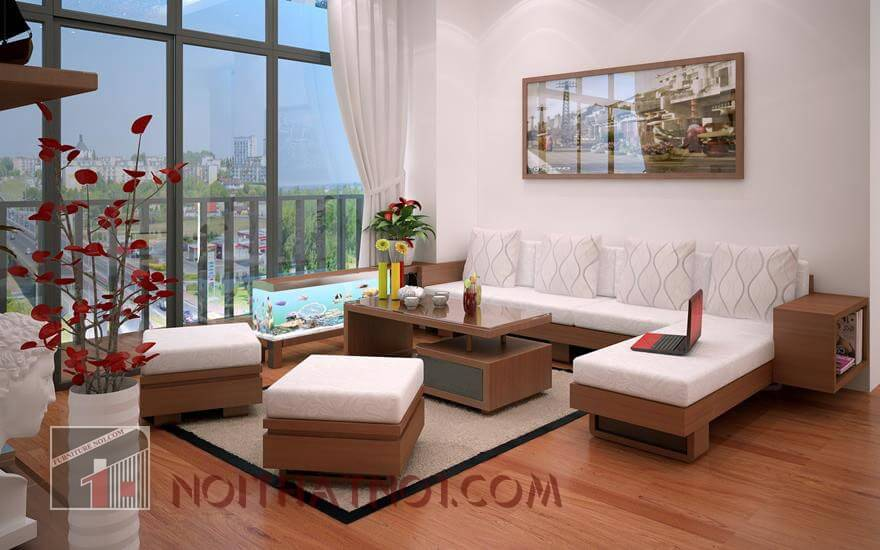 Mẫu bàn ghế sofa gỗ phòng khách nhỏ hiện đại nhất