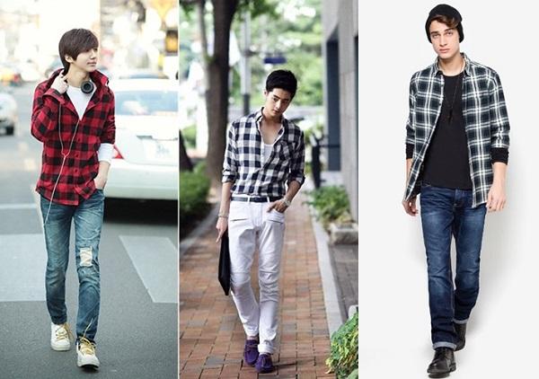 Áo sơ mi khoác ngoài phối với quần jeans và áo thun nam