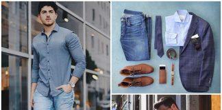 Phối hợp áo sơ mi nam với quần jean theo phong cách trẻ trung, năng động