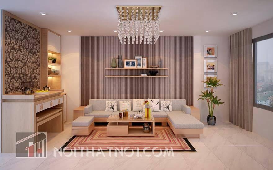 Bộ bàn ghế gỗ chung cư đẹp