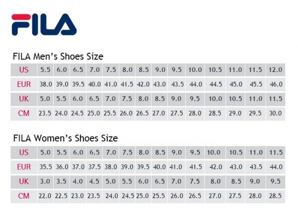 Bảng size giày Fila Hàn Quốc